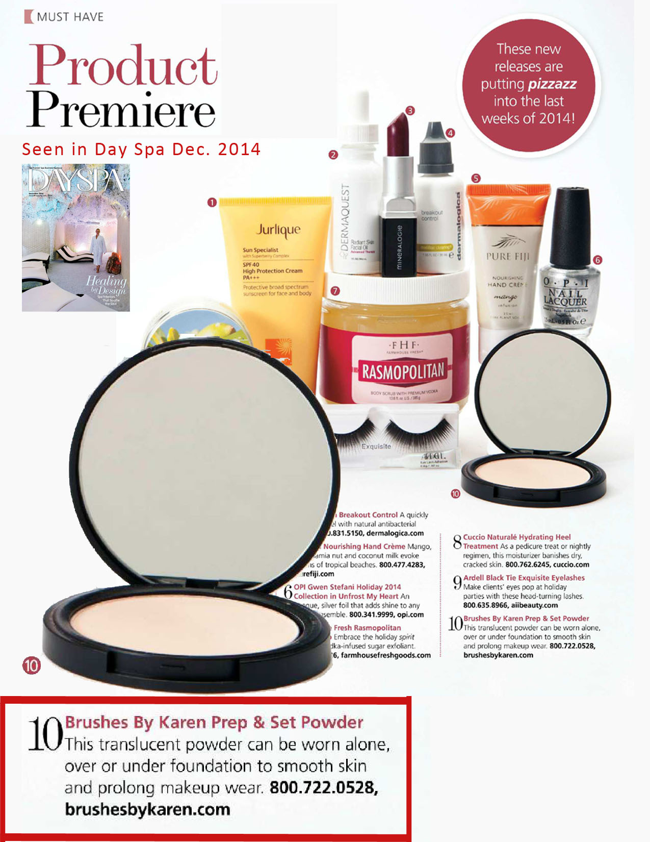 Pep & Set Powders featured in Day Spa Magazine - December 2012