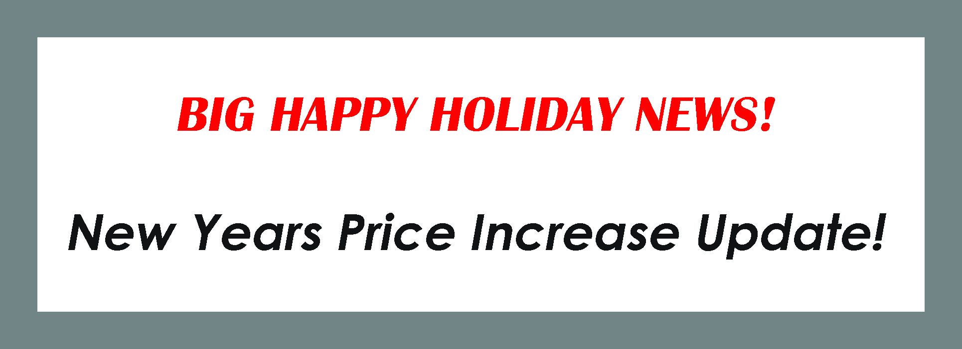 Happy Holiday News